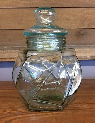 HUGE Vintage Glass Jar And Lid Pale Green Aqua Cookie Candy