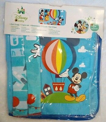 Rare Disney Mickey Mouse Pluto Infant Baby Boys Set of 3 Changing Mat and Towels