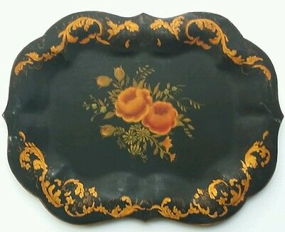 """Antique 1800s Hand Painted Tole Metal Tray, Roses, Folk, 12.75"""" x 9.5"""""""
