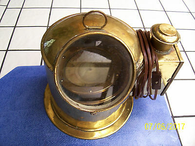 Vintage Lighted Brass Binnacle with Compass