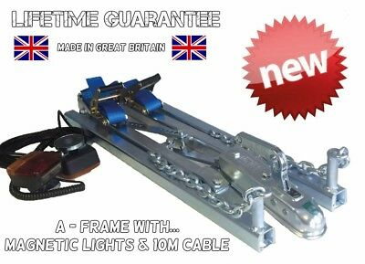 One Man Solo 2.5T Car Recovery A Frame Towing Dolly Trailer + Magnetic Lights