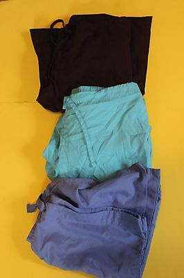 LOT OF 3 SCRUB BOTTOMS Size Medium Brown Light Blue Darker Blue SB Scrubs Cherok