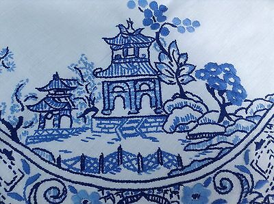 Vintage Stunning Hand Embroidered Willow Pattern White Linen Tablecloth