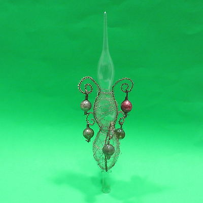 Antique Vtg Victorian Glass and Wire Christmas Tree Top Topper