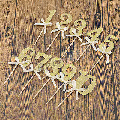 Glitter Number Cake Toppers Birthday Party Supplies Reception Decoration Gift