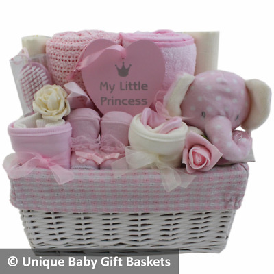 Deluxe baby gift basket/hamper girl baby shower nappy cake new baby gift unique