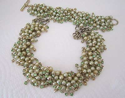 Vintage faux pearl and rhinestone necklace and bracelet set pastel green