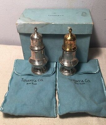Tiffany & Co. Antique Sterling Silver Salt & Pepper Shakers Box & Pouch