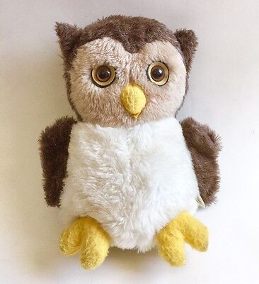 Vintage Plush Stuffed Animal Fair Old Wise Furry Owl Big Eyes 11""