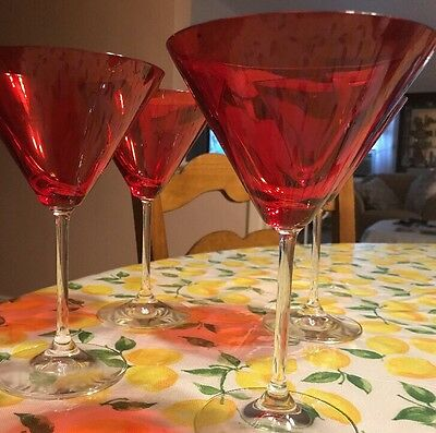 Marquis by Waterford Crystal Vintage Red NEW Set/4 Martinis No Box