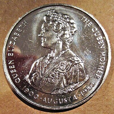 Large Falkland Islands 1980 80Th Birthday Queen Mother 50 Pence Coin (Km# 15)