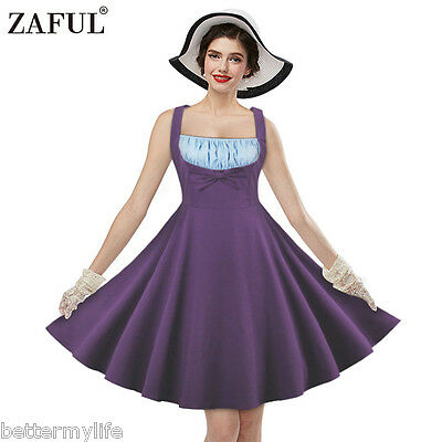 Zaful Vintage Dress Square-cut Sleeveless And Color-block Design Retro Dress