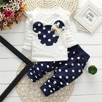 US Baby Girls Minnie Mouse Coat Tops + Pants Set Kids Clothes Suits