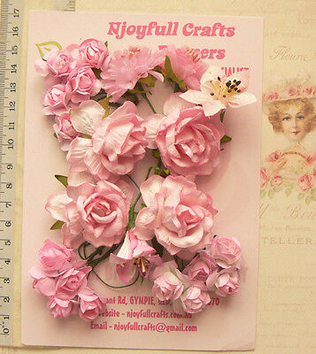 PINK Tones Roses & Lillies - 23 Flowers 25-40mm 5 Styles PAPER PFT2Shlf