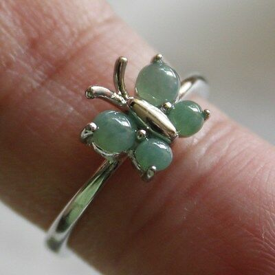 Size 6 1/2 ** CERTIFIED Natural Type A Green Jadeite JADE 925 Silver Ring #R154