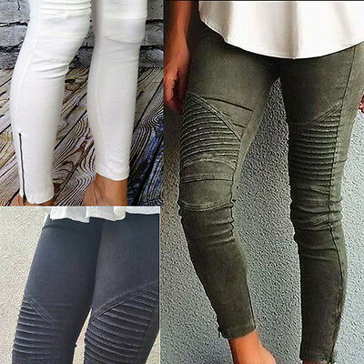 UK Stock Women High Waist Slim Skinny Pencil Pants Stretch Jeans Ripped Trousers