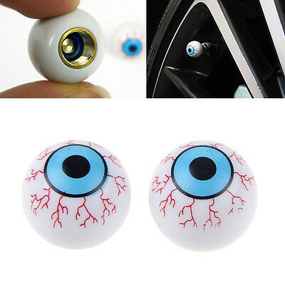 2pcs Novelty Car Bike Eye Ball Wheel Tyre Air Dust Stem Valve Covers Caps Pop