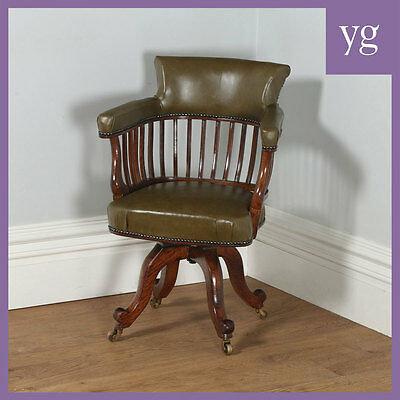 Antique English Victorian Mahogany & Leather Revolving Captains Office Armchair
