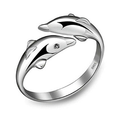 Fashion Elegant Sterling Silver Double Dolphin Opening Adjustable Rings Gift AU