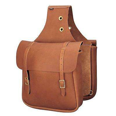 Weaver Leather Chap Leather Saddle Bag, Brown Brass Plated Hardware