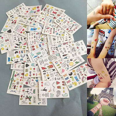 Multi-Colors 10 Sheet Cartoon Cute Kids Temporary Tattoo  Makeup Sticker Tattoos