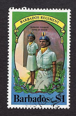 1980 Barbados 1$ Regiment womans corps SG658 GOOD USED R31332