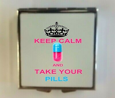 """Square Metal Pill Box/Case Printed/Personalised """" Keep Calm"""" Wedding Favour Gift"""