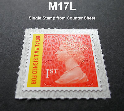2017 1st Class Signed For M17l Machin Single Stamp From