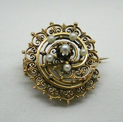 Vintage Lovely Ornate 14ct Gold And Pearl Swirl Design Brooch