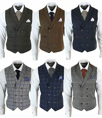 Mens Double Breasted Herringbone Tweed Peaky Blinders Vintage Check Waistcoat