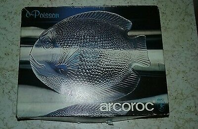 "Vintage Arcoroc France Fish Poisson Shaped Appetizer Side Plate 6-3/8"" Set Of 8"