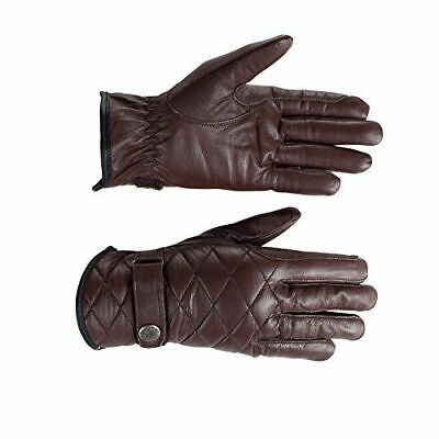 Horze Selena Quilted Leather Riding Gloves with Press Button Closure