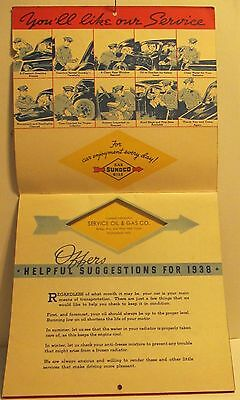 1938 Sunoco Promo Calendar Service Oil & Gas Company Nice Condition