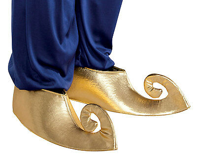 Mens Aladdin Genie Gold Shoes Ali Baba Deluxe Medieval Arab Fancy Dress Costume