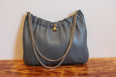 Vintage ANDE Small Gray Leather Purse with Gold Chain Strap