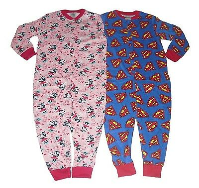 Boys/Girls All In One Jumpsuit Pyjamas Disney Minnie Mouse Or Superman