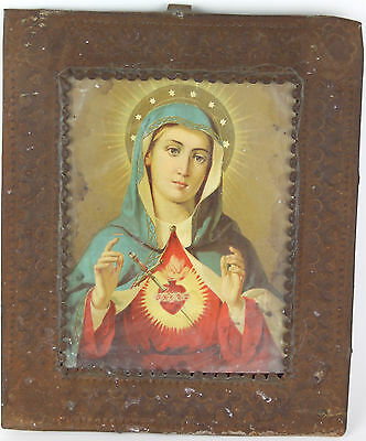 Antique Retablo Immaculate Heart of Mary Image Soldered into Glassed Tin Frame