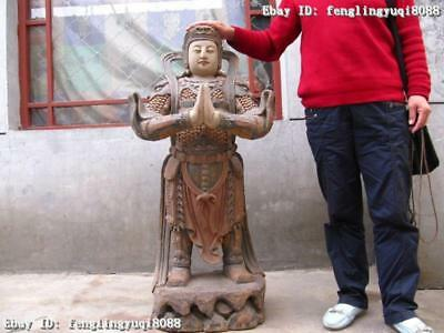 "45 Inch""Large old Wood Handwork painted Wei Tuo warrior God Buddha Statue"
