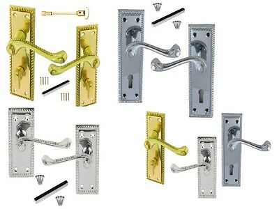 Georgian Door Handles Chrome/Brass Lever LOCK, LATCH, or BATHROOM Many Variation