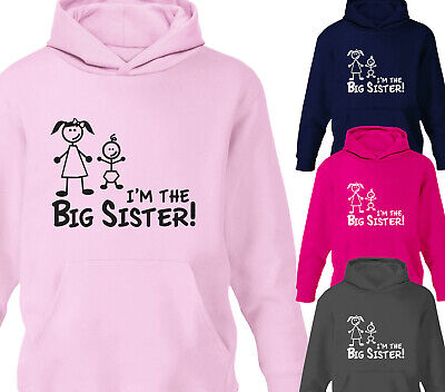 Girls I'm The Big Sister Childrens Hoody Kids Sweatshirt Hoodies Ages 1-12