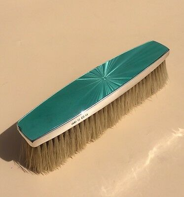 Lovely Solid Silver Guilloche Enamel Clothes Brush, Birm 1930