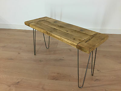 Rustic Solid Wood Farmhouse Bench Reclaimed Pine with Hairpin Legs Dining Plank