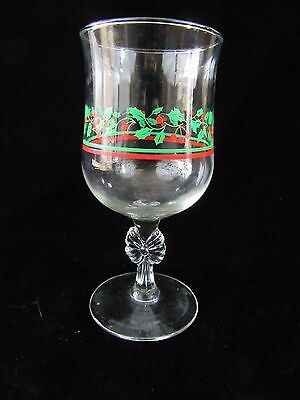 Arby's Holly & Berries Stemmed Goblet W/ bow 1980s 12 oz Christmas Glass
