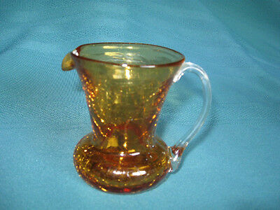 Crackle Glass Pitcher– Gold Color – Hand Blown