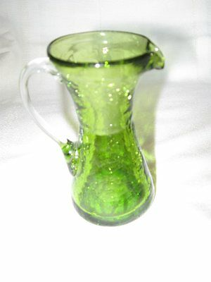 Crackle Glass Small Pitcher - Olive Green - Hand Blown