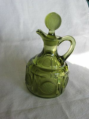 Fostoria Frosted Coin Glass Cruet – Olive Green