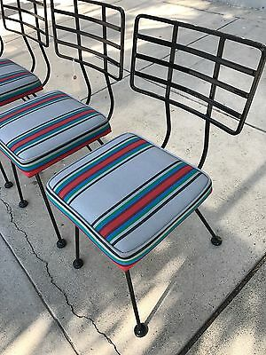 VINTAGE PATIO CHAIRS IRON WOODARD SALTERINI VKG 50's 60's ERA RESTORED SET OF 8