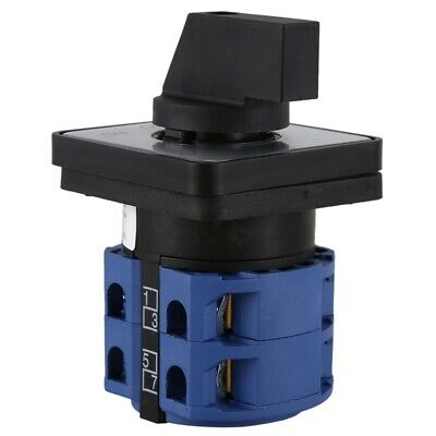 AC660V 25A 3-Position Momentary Plastic Rotary Changeover Switch Blue+Black T2G9