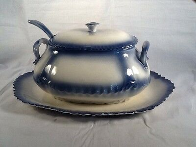 Vintage Tureen with Ladle BLUE AND WHITE NEVER USED