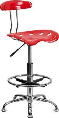Vibrant Cherry Tomato Chrome Drafting Stool wTractor Seat school Student chiar